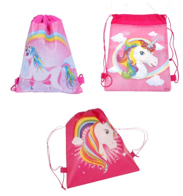 3Styles Unicorn Drawstring Bag Fashion Cartoon Theme Unicorn String Bags Kids Back Bags 35.5*28cm
