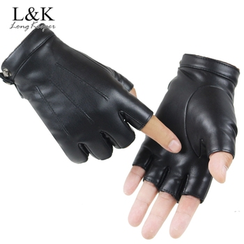 LongKeeper Fashion Men Women PU Leather Gloves Male Fingerless Mittens Black Half Finger Outdoor Driving Gloves Guantes Ciclismo