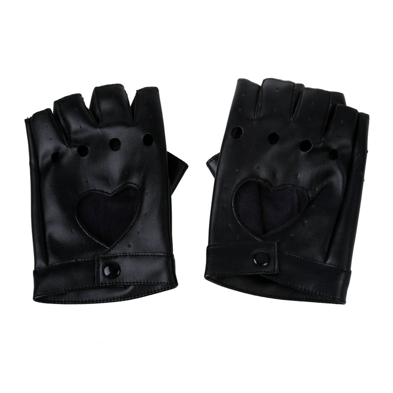 Women PU Leather Motorcycle Bike Car Fingerless Performance Gloves Bright Black