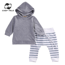 2Pcs Brand New Autumn Baby Girl Boys Clothes Set Newborn Boy Warm Hooded Coat Tops+Pants Outfits Sets 0-18 Momth