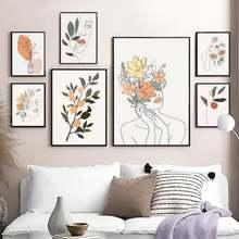 Абстрактный цветок женщина линия лица оранжевая картина холст