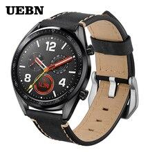 UEBN 22 мм Серебряный кожаный браслет с пряжкой Для HUAWEI Watch GT 2 46 мм ремешок HONOR Magic для samsung gear S3 Ремешки для наручных часов