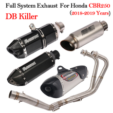 Full System Motorcycle Modified Exhaust For Honda CBR250 CBR205R 2018 2019 Muffler DB Killer With Front Middle Link Pipe Slip On ninja 400 motorcycle full exhaust system slip on for kawasaki ninja400 modified front middle connection pipe muffler db killer
