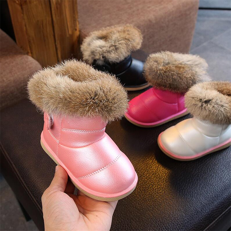Girls Boots Children Cotton Boots Winter Thick Snow Boots Warm Non-slip Soft Bottom Kids Shoes Waterproof Leather Boy Toddler