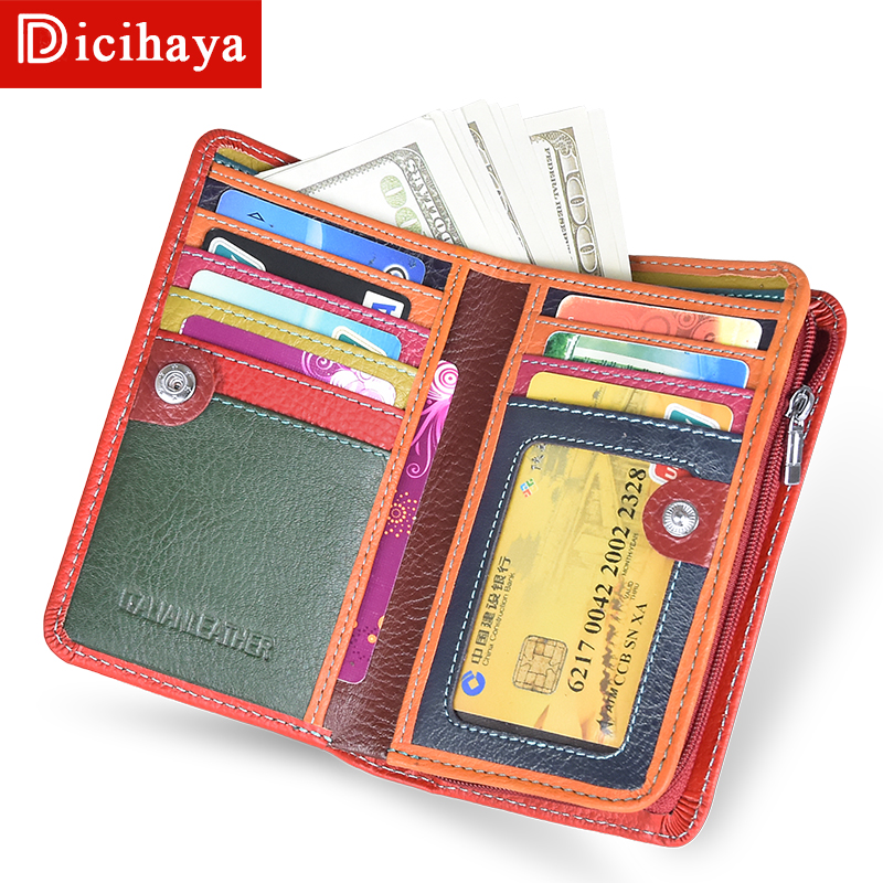 DICIHAYA Designer Trend Genuine Leather Wallet Female Women Wallet Short Wallet Quality Coin Purse Women Color Matching Purse