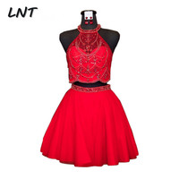 Two Pieces Red Short Homecoming Dresses Hoco Party Dress with Beads
