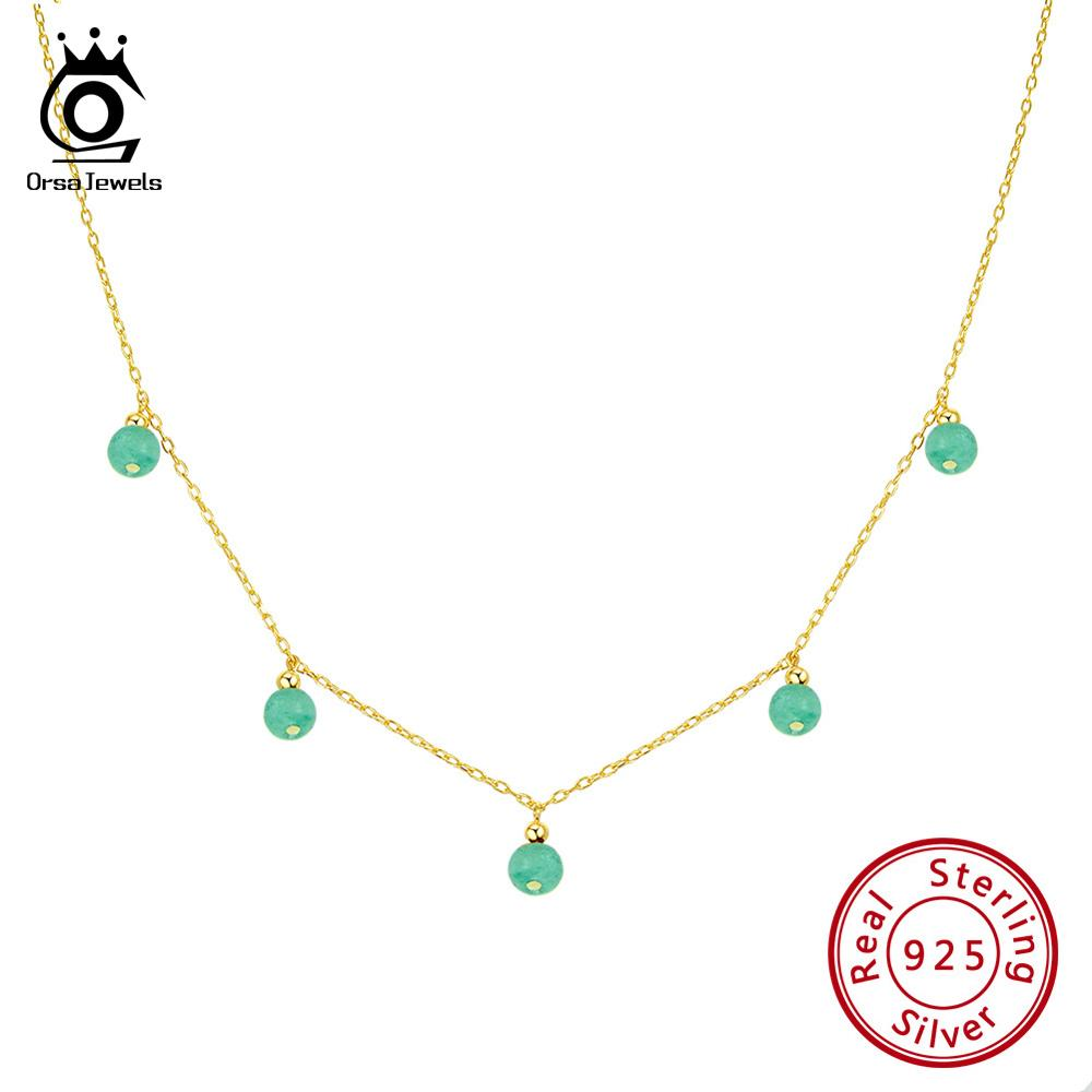 ORSA JEWELS 100% Real 925 Women Natural Stone Pendant Necklace 18K Gold Chain Sterling Silver Necklace Trendy Fine Jewelry SN149