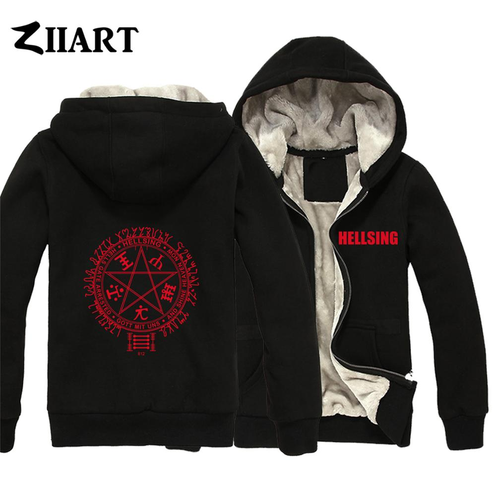 Star Pentagram Hellsing Motto Organization Ultimate Pentagram Vampire Boys Man Plus Velvet Parkas Couple Clothes ZIIART