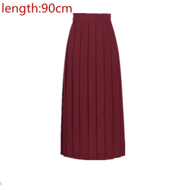 Японская школьная форма для девочек, регулируемая однотонная плиссированная юбка, 90 см, Jk, черный, темно-синий цвет, для старшеклассников, для студентов, в школьном стиле - Цвет: Red wine 90cm