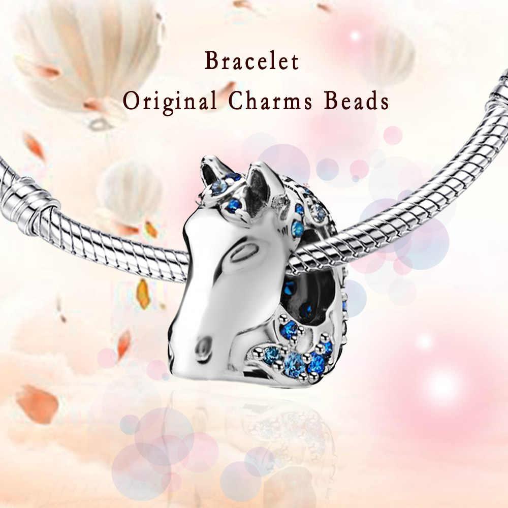 Głowa konia Charms koraliki na bransoletkę 925 srebro Fit Charms srebro 925 oryginalny prezent na boże narodzenie kobiety koraliki tworzenia biżuterii