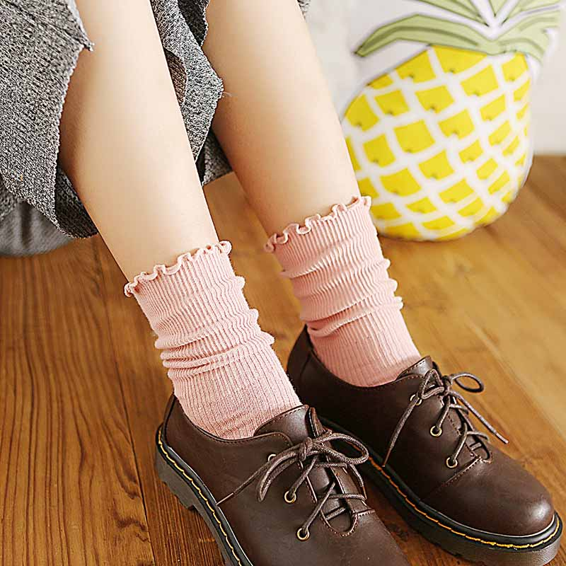 Women Autumn Winter Casual Cotton Sock Solid Color Flower Side Middle Tube Keep Warm Socks Breathable Hosiery 10 Colors Optional