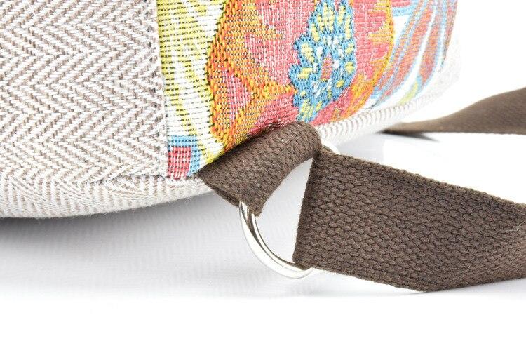 Mochila de corda de crochê feminina, mochila