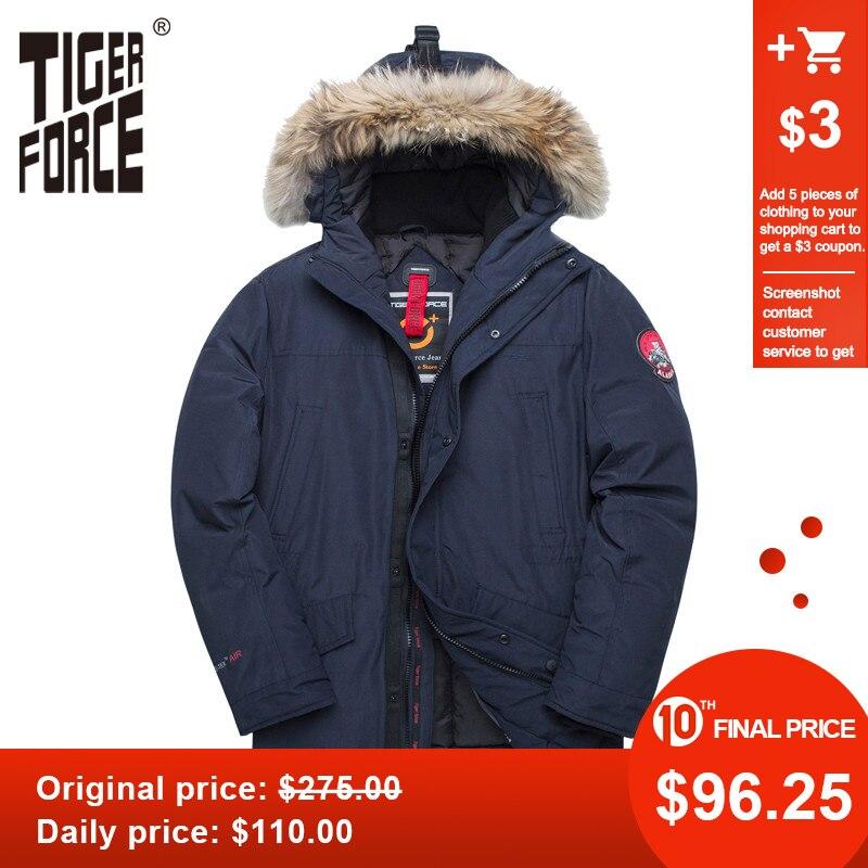 TIGER FORCE Alaska Winter Jacket For Men Parka Waterproof Thicken Coat  Jackets With Real Fur Hood Male Snowjacket Outwear