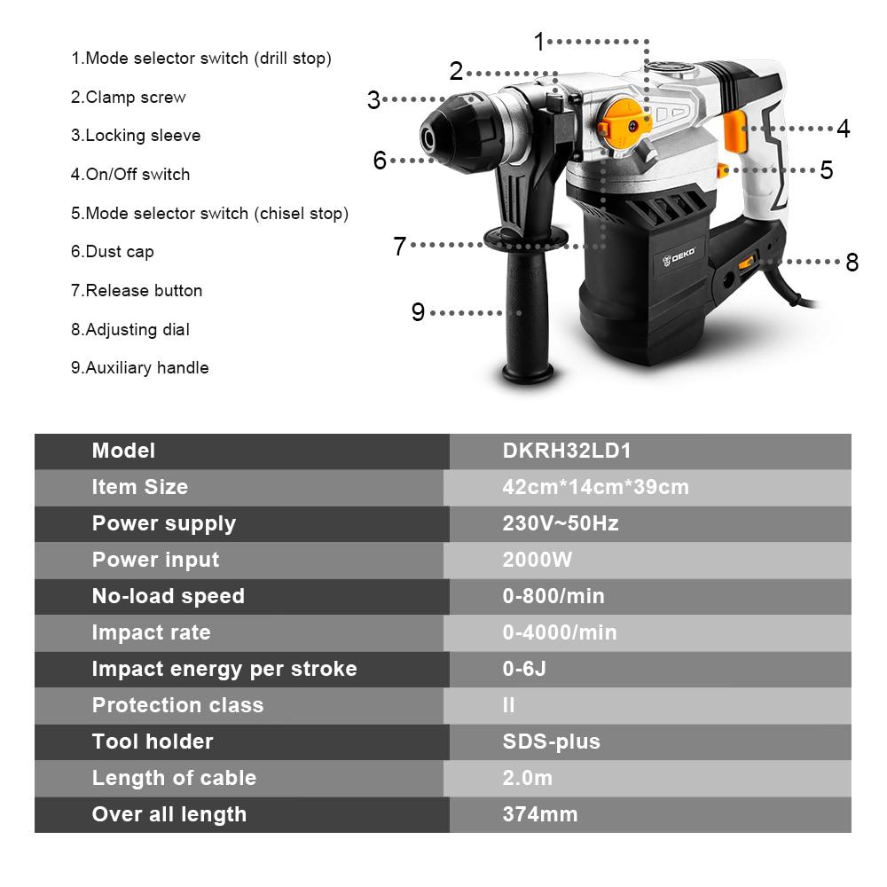 DEKO DKRH32LD1 220V wielofunkcyjny obrotowy młotek z 6 sztuk akcesoria elektryczny młot udarowy 2000W wiertarka udarowa BMC Box