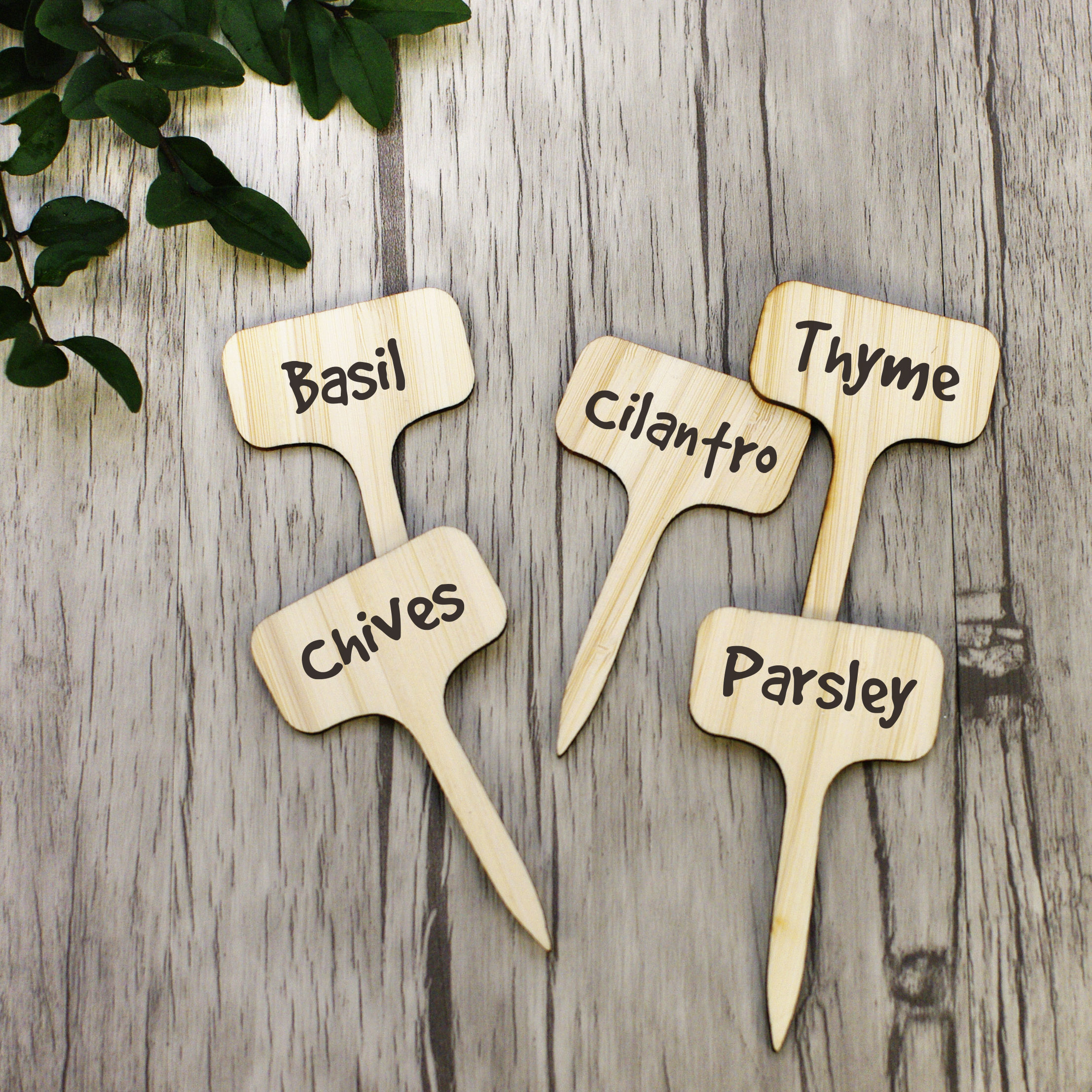 25pcs Bamboo Plant Labels , Eco-Friendly T-Type Wooden Plant Sign Tags Garden Markers For Seed Potted Herbs Flowers BL02