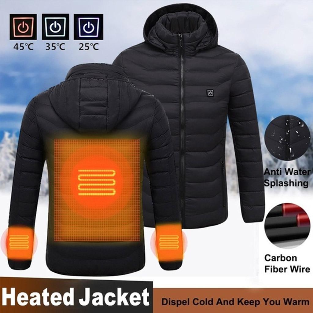 Winter Jacket Men Clothes Winter Coat Winter Men's Usb Abdominal Back Electric Heating Warm Down Cotton Jacket Veste Homme Hiver