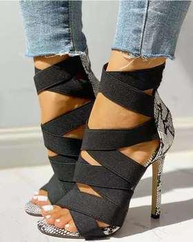 Sandalias sexis para mujer, diseño de tacón alto, tienda de correa cruzada...