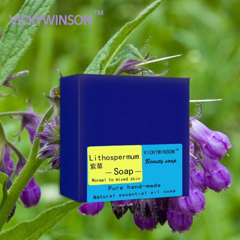 VICKYWINSON Lithospermum Handmade Soap 100g Prevent Spots Acne Burns Dermatitis Eczema Skin Repair Wound Healing Scar Repair