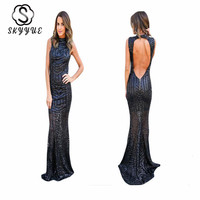 Skyyue Sleeveless Sequins Evening Dress Women Party Dresses 2019 Plus Size O neck Hollow Robe De Soiree Formal Evening Gown T002