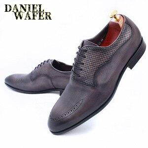 Image 1 - יוקרה מותג גברים אוקספורד נעלי איטלקי בעבודת יד עור אמיתי פורמליות נעלי תחרה עד אפור משרד עסקי חתונה שמלת נעלי גברים