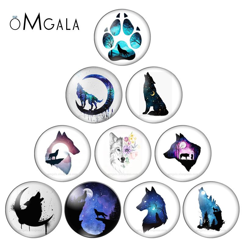 Fashion Painting Animals Cat Tiger Wolf Fox 10pcs 12mm/18mm/20mm/25mm Round Photo Glass Cabochon Demo Flat Back Making Findings