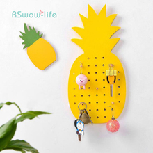 Creative Key Wall Holder Home Decorative Wooden 10-Hook Shower Curtain Hooks Bathroom Bedroom Pineapple Leaf Kitchen Supplies