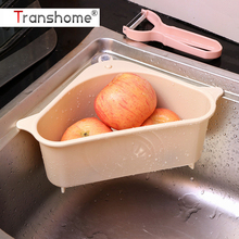 Triangular Sink Drain Shelf Drop Shipping Kitchen Gadget Vegetable Shelving Sink Suction Cup Sink Shelf Sponge Rack Storage Tool cheap Transhome Shredders Slicers Plastic CE EU LFGB D1259 Fruit Vegetable Tools Stocked Eco-Friendly Fruit Sponge Rack