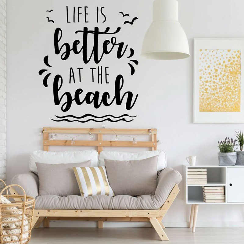 Beach House Wall Decal Life Is Better At The Beach Quotes Vinyl Stickers Bedroom Playroom Home Decor Surfer Gift Wallpaper Q674 Wall Stickers Aliexpress