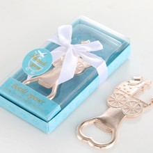 30 PCS/Lot  Baby Shower Gifts Boy Girl Birthday Party Giveaways Baptism Souvenirs Gold Metal Baby Carriage Bottle Opener
