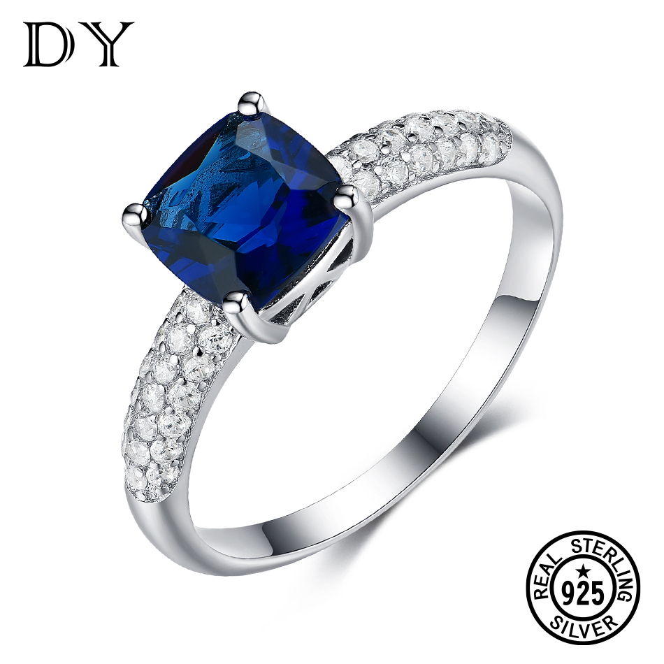 DY Gemstone Blue Sapphire Glass Cubic Zirconia 925 Sterling Silver Luxury Fancy Ring For Female Engagement Ring Classic Jewelry