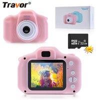 TRAVOR-Mini cámara Digital para niños, videocámara HD 1080P, juguetes para niños, grabadora de vídeo, DV, regalo, tarjeta TF de 32 GB