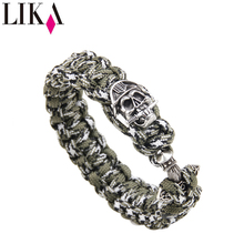 LIKA Men's Handmade Nylon Bracelets Personality Skull Shape Copper Trendy Cuff Bangles & Bracelet Vintage Jewelry Accessories trendy solid color nail shape cuff bracelet for women