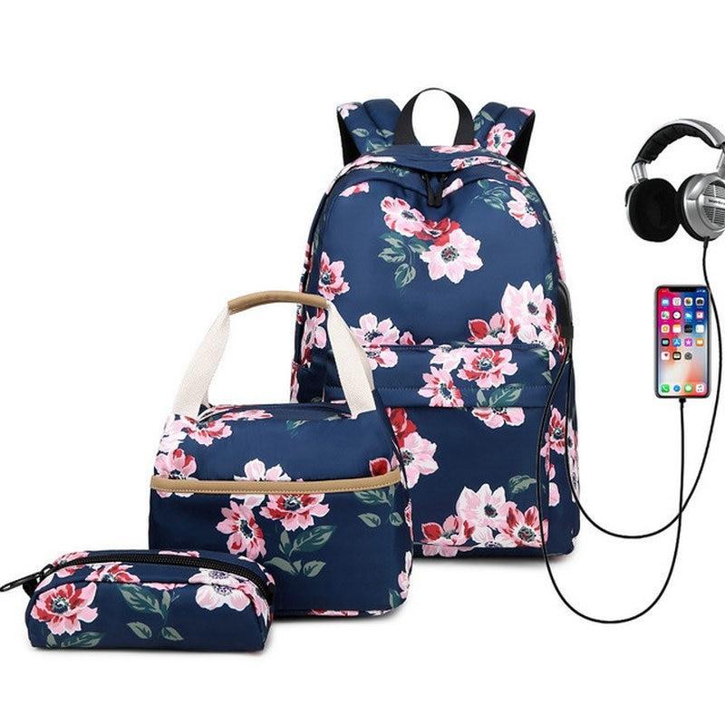 Sac à dos étudiant collège étanche sac à dos à fleurs hommes femmes matériel Escolar Mochila qualité sacoche d'ordinateur portable de marque sac à dos scolaire