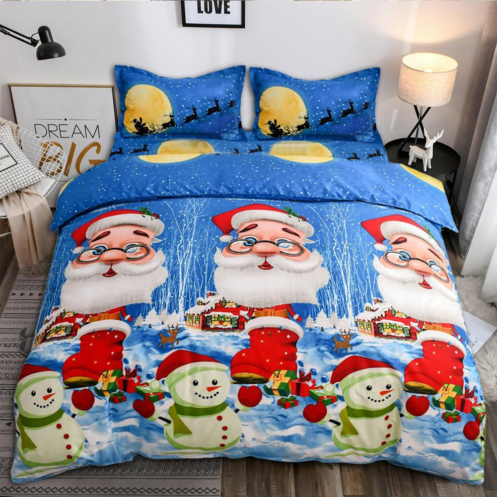 2/3pcs Christmas Duvet Cover With Pillowcase Bed Quilt Cover Santa Claus Pattern Home Xmas New Year Winter Sleeping Bedding Set