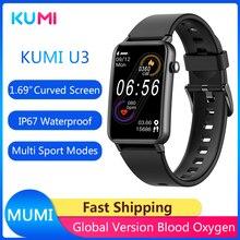 Novo arrivial original kumi u3 relógio inteligente 1.57 polegada 200x320 bluetooth 5.0 ip68 smartwatch moda feminina rastreador de fitness pedômetro
