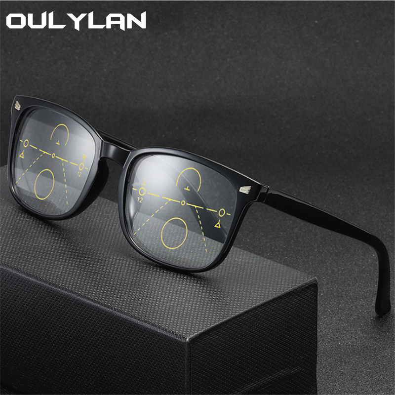 Oulylan Progressive Multifocal Reading <font><b>Glasses</b></font> Women ear Far Sight Eyewear Men Anti-blue light Eye <font><b>Glasses</b></font> Diopter +<font><b>1.0</b></font> 2.0 3.0 image