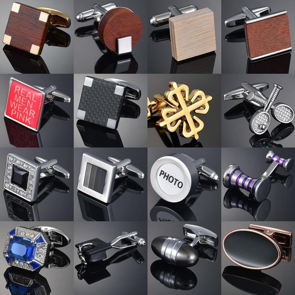 Trendy Round/Square Wooden Cufflinks For Mens Shirt Wood Cuff Links For Wedding Party Button Manchette Cufflink Gemelos