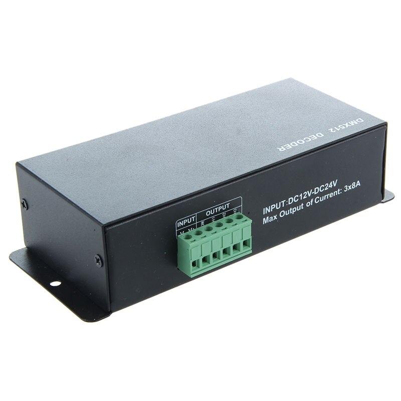 BMBY-DC 12V-24V 3 Channel DMX Decoder LED Controller For RGB 5050 3528 LED Strip Light