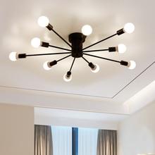 Lámpara de techo de hierro forjado de tubo de luz de techo Led nórdico para el hogar dormitorio sala de estar restaurante Dinning café E27