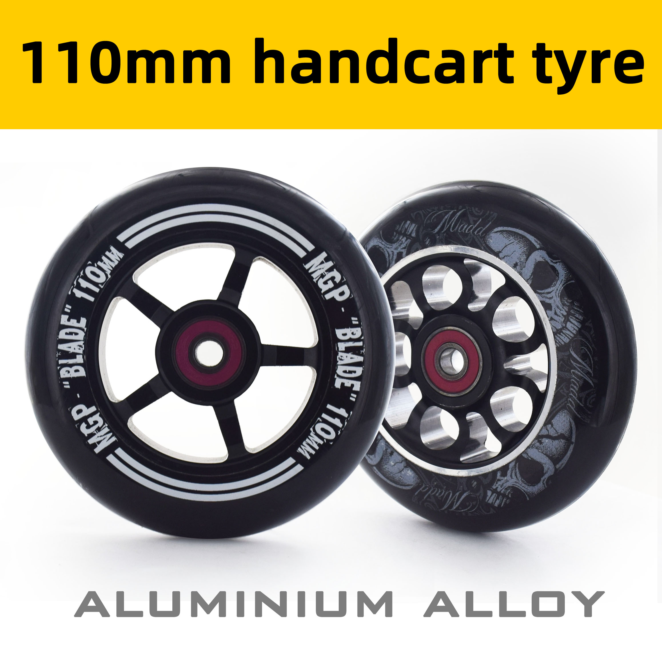 110mm handcart tyre Scooter wheels with iron hub, stable and precise design, black aluminium alloy CNC 88A PU
