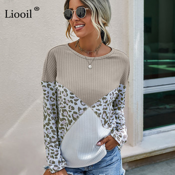 Liooil Casual Leopard Print Knitted T Shirt Women 2020 Patchwork Long Sleeve O Neck Loose Womens Fall Clothing And Shirts Top womens gradient t shirt shorts set 2 pcs lounge wear leopard print long sleeve top drawstring homewear casual suit