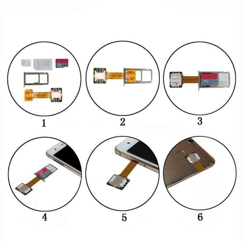 Hybrid Double Dual SIM Kartu Micro SD Adapter untuk Ponsel Android Extender Nano MIC W91A