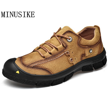 Men 2020 Spring Fashion Men Casual Shoes Genuine Leather Lace-Up Breathable Thick Sole Outdoor Shoes Hiking Sneakers