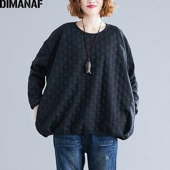 DIMANAF Plus Size Women Sweatshirts Vintage Female Basic Tops Shirt Winter Thick Long Sleeve Big