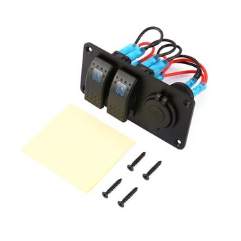 Hot 2 Gang Car Marine Boat 5 Pin LED Rocker Switch Panel Breaker 3.1A Dual USB Ports Socket Charger Waterproof Circuit chint lighting switches 118 type switch panel new5d steel frame four position six gang two way switch panel