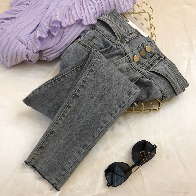Jeans Woman Korean-Style Ins Temperament 2020 Spring New Fashion Slim-Fit High-Waist Three Button Jeans Ladies Pencil Pants