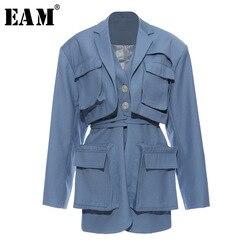 Женский блейзер с карманами EAM, Синий Свободный пиджак с отложным воротником и длинным рукавом, весна-осень 2020, 1T661, большие размеры