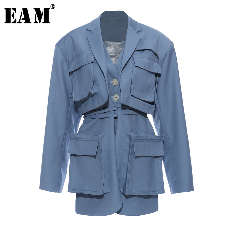 [EAM]  Women Blue Pocket Split Joint Big Size Blazer New Lapel Long Sleeve Loose Fit  Jacket Fashion Spring Autumn 2020 1T661