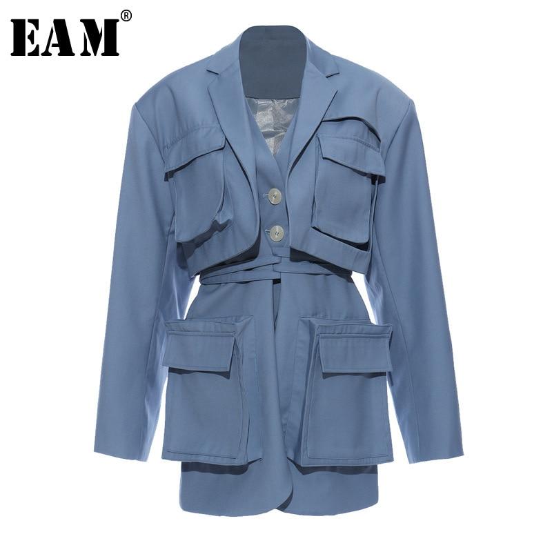 [EAM]  Women Blue Pocket Split Joint Big Size Blazer New Lapel Long Sleeve Loose Fit  Jacket Fashion Spring Autumn 2020 1T661