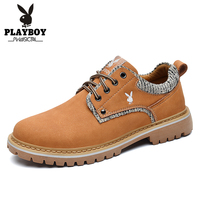 PLAYBOY New Classic Men Flock Leather Tooling Shoes Casual Shoes Lace Up Men Work Shoes Non slip British Style Men's Shoes